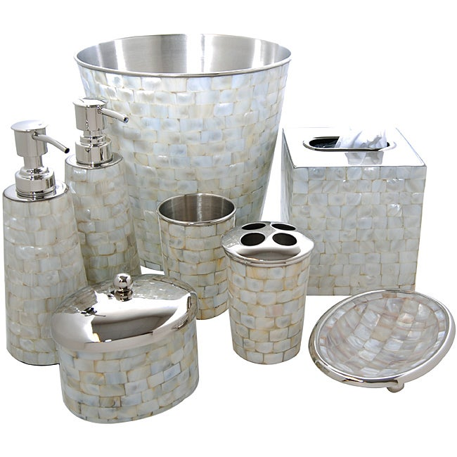 Royal Mother of Pearl Bath Accessory 8-piece Set