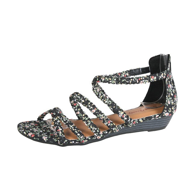 Refresh by Beston Women's 'Tokyo-02' Black Floral Braided Sandals