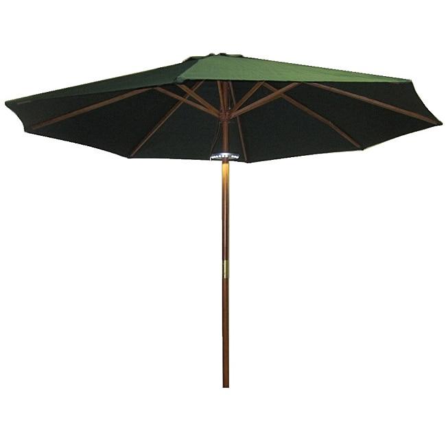 LED Lighted Hunter Green Hardwood Patio Umbrella