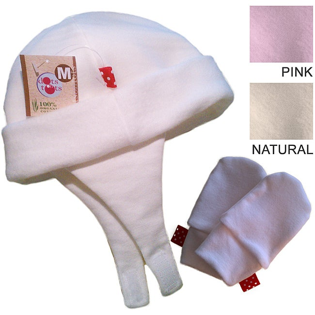 Dots On Tots Baby Organic Ear Flap Hat and No-Scratch Mittens Set