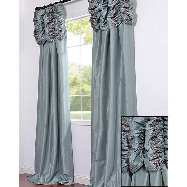 Exclusive Fabrics Ruched Header Sea Green Faux Silk Taffeta 96-inch Curtain Panel