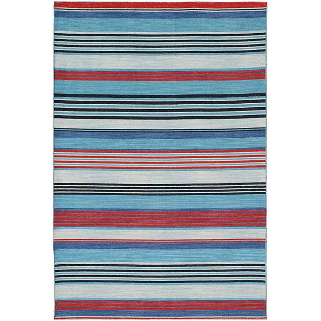 Flat Weave Red Wool Area Rug (9' x 12')