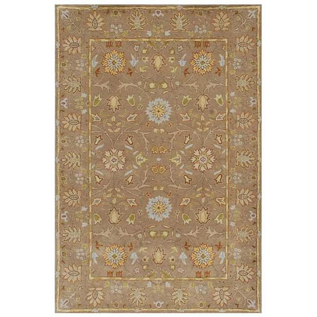 Hand-tufted Sand/ Green Wool Rug (9'6 x 13'6)