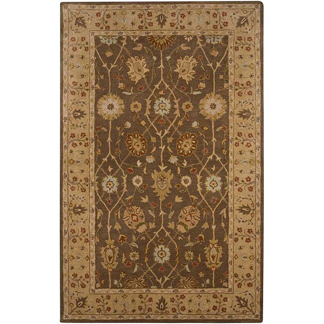 Hand-tufted Brown/ Sand Wool Rug (9'6 x 13'6)