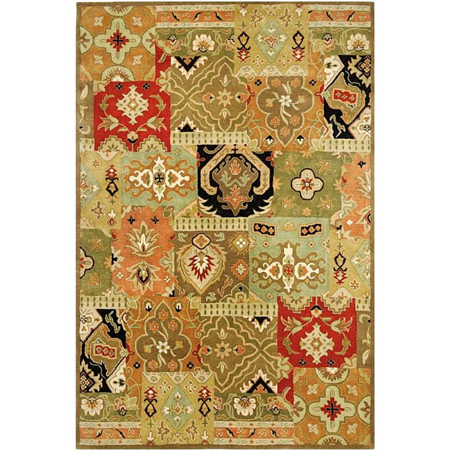 Hand-tufted Green/ Multi Wool Rug (9'6 x 13'6)