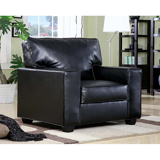 Black Bonded Leather Accent Chair