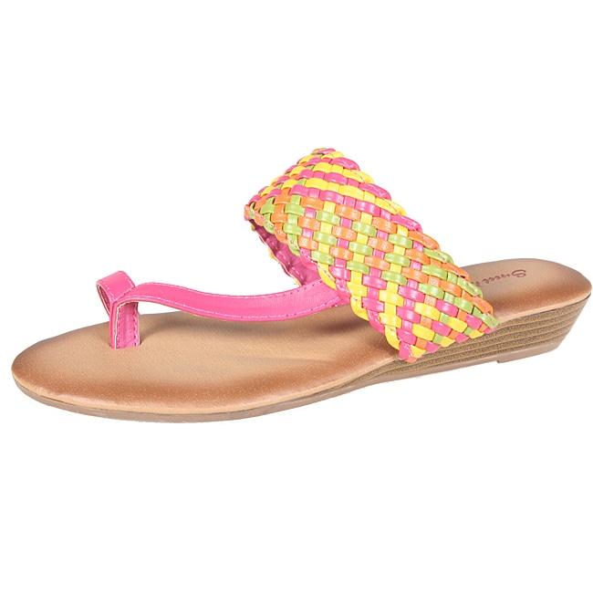 Refresh by Beston Women's 'Tokyo-15' Fuchsia Multicolor Braided Thong Sandal