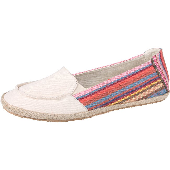 Refresh by Beston Women's 'Lala' Beige Striped Canvas Boat Shoes - Thumbnail 0