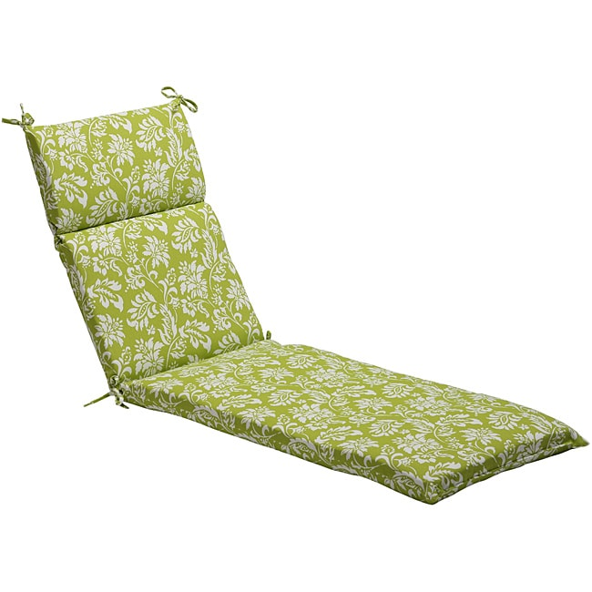 Pillow Perfect Green/ White Floral Outdoor Chaise Lounge Cushion