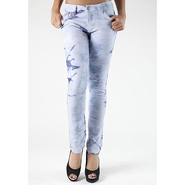 MDZ Women's Junior Icy Marble Wash Skinny Jeans