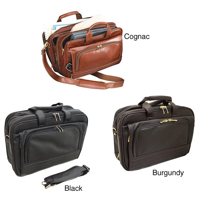 The New Yorker Expandable 15.6-inch Leather Laptop Briefcase