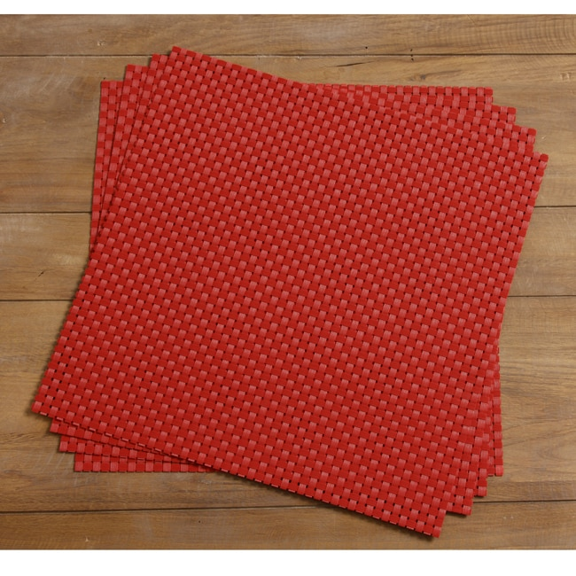 Bistro 14 inch Red Square Placemats Set of 4 Free  : L14097549 from www.overstock.com size 650 x 650 jpeg 135kB