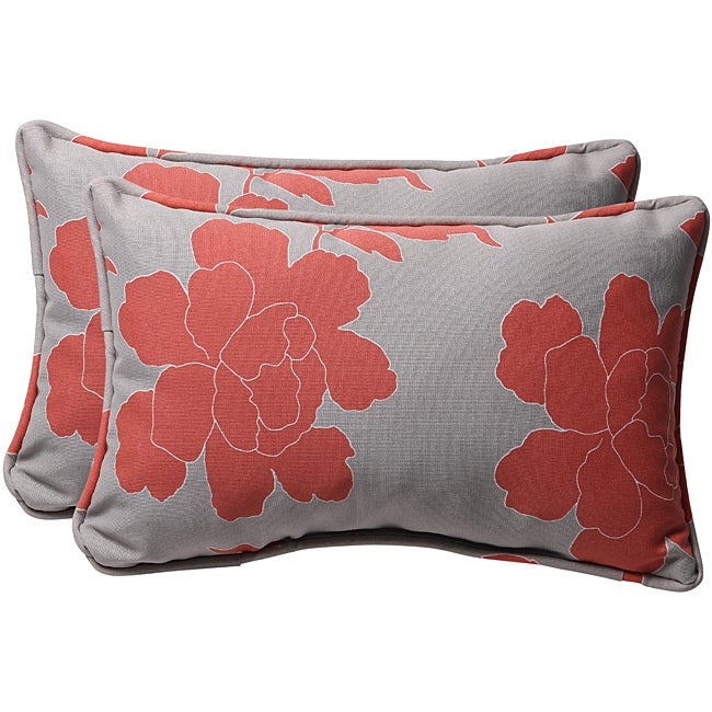 Pillow Perfect Decorative Gray/ Coral Floral Outdoor Toss Pillows (Set of 2)