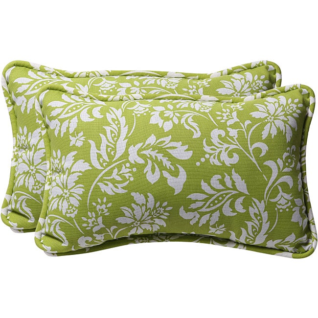 Pillow Perfect Decorative Green/ White Floral Outdoor Toss Pillows (Set of 2)