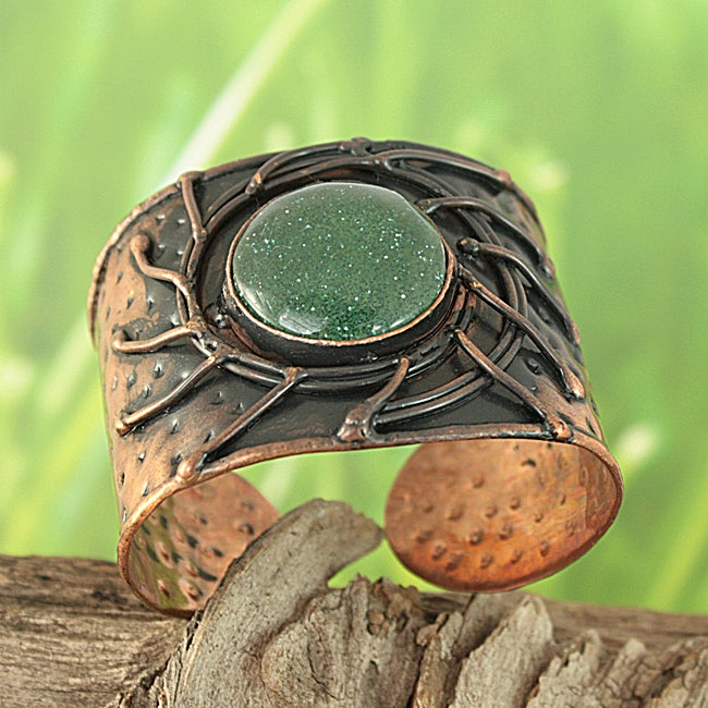 Handcrafted Copper Antique Green Sun Cuff Bracelet (India)
