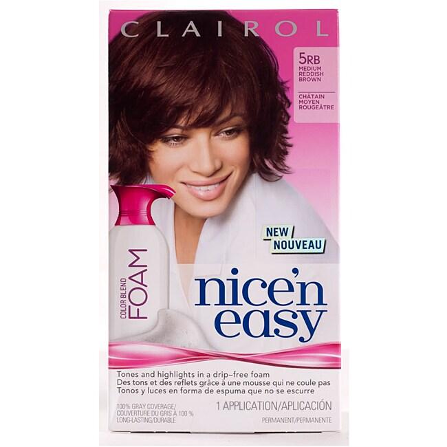 Clairol Nice'n Easy Foam #5RB Medium Reddish Brown Hair Color (Pack of 4)