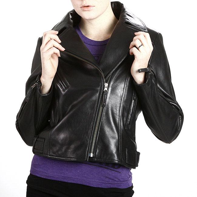 United Face Womens Black Leather Motorcycle Jacket