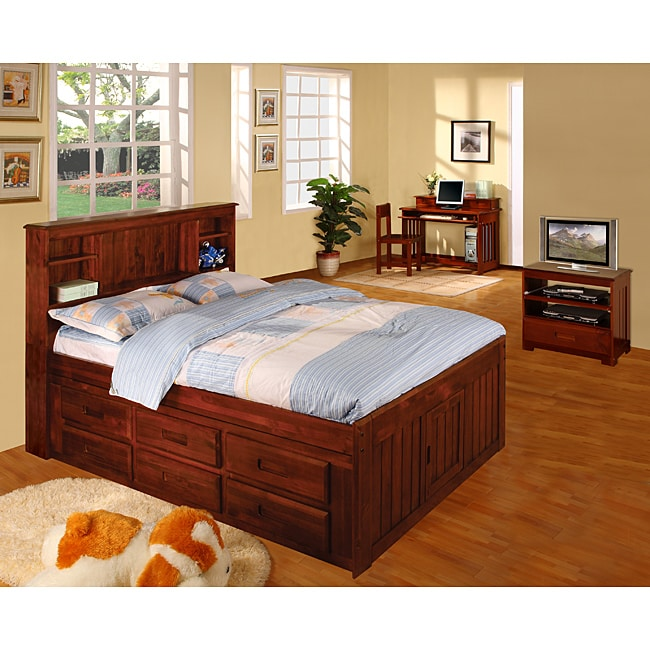 Merlot Solid Pine Wood Bookcase Full Size Bedroom Set 5 Pieces Free Shipping Today