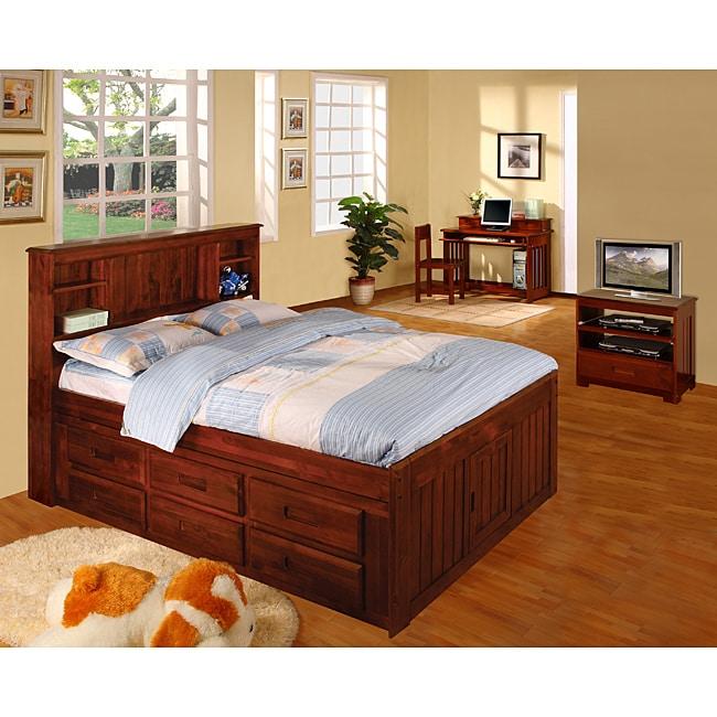 Merlot Solid Pine Wood Bookcase Full Size Bedroom Set 5