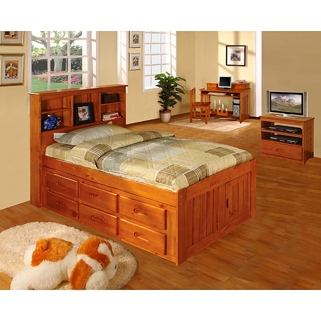 Honey Solid Pine Wood Bookcase Twin-Size Bedroom Set (5 Pieces)