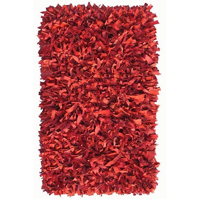 Hand-woven Red Premium Leather Shag Area Rug (8' x 10')