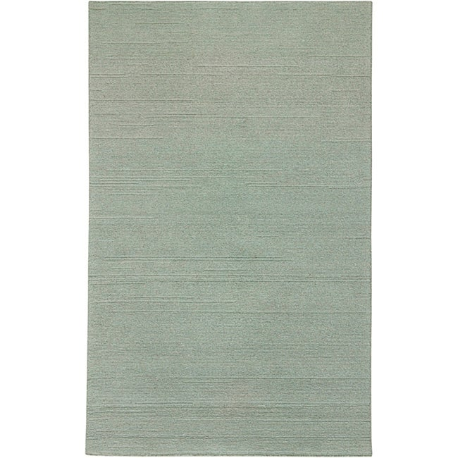 Hand-tufted Sovereignty Solid Blue Rug (5' x 8')