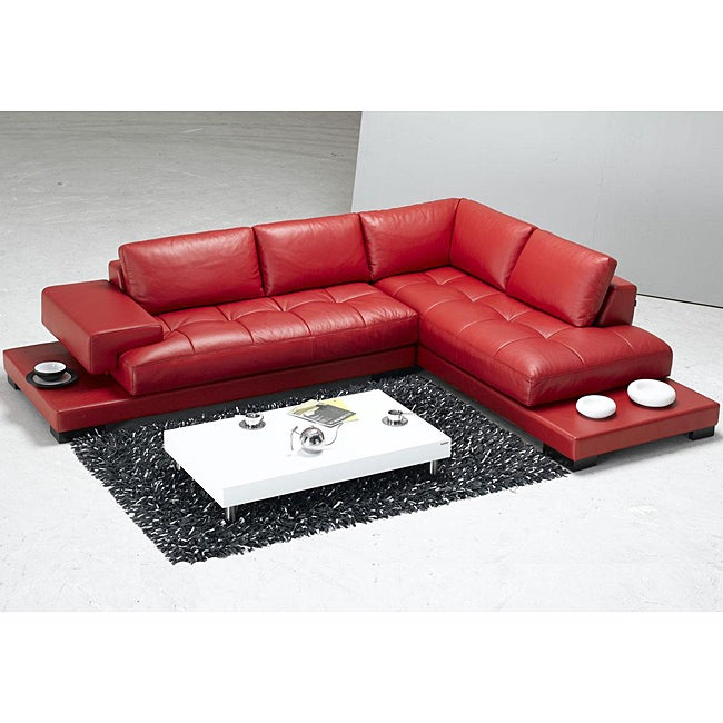 Modern Red Leather Sectional Sofa Free Shipping Today