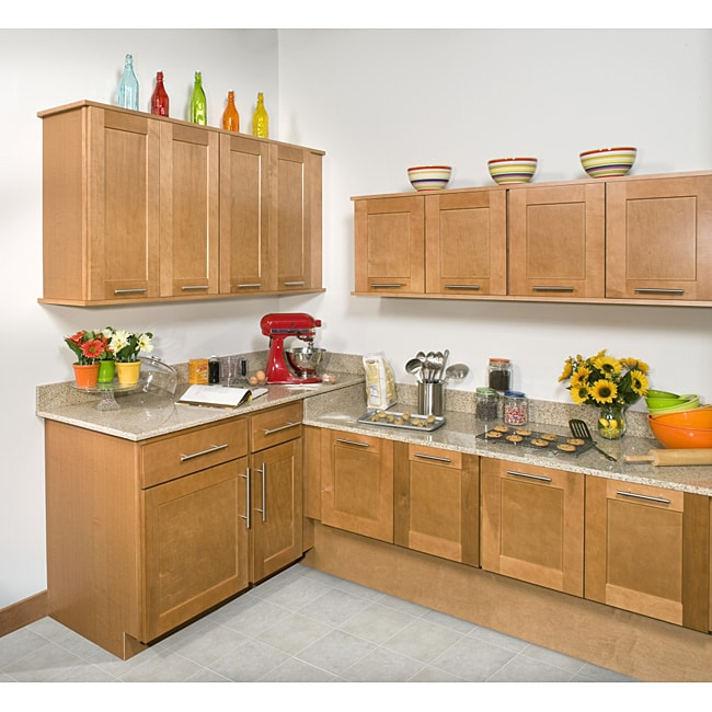 Bon Shop Honey Stained 27 Inch Wall Kitchen Cabinet   Free Shipping Today    Overstock   6518110