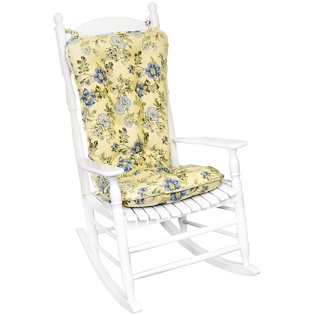 Awesome Cotton Yellow Floral Jumbo 2 Piece Rocking Chair Cushion Set Home Interior And Landscaping Dextoversignezvosmurscom