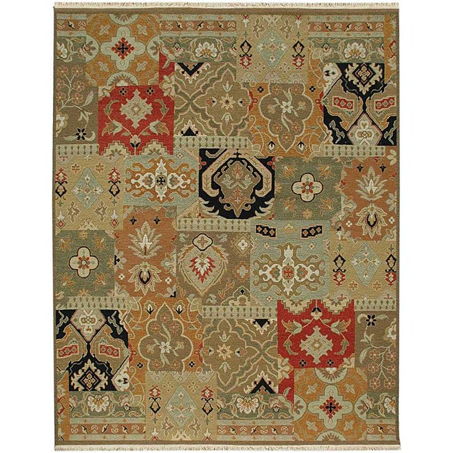Shop Hand Knotted Green Red Wool Rug 10 X 14 Free