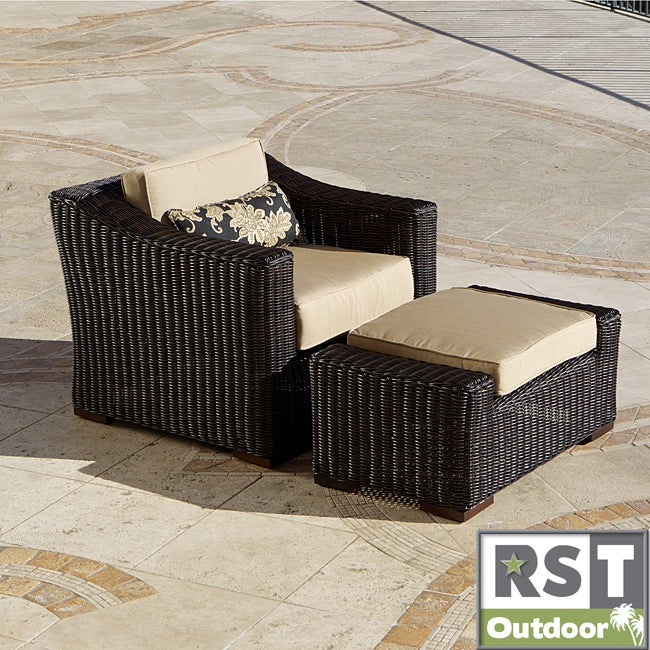 Red Star Traders Resort Collection Club Ottoman in Espresso Rattan