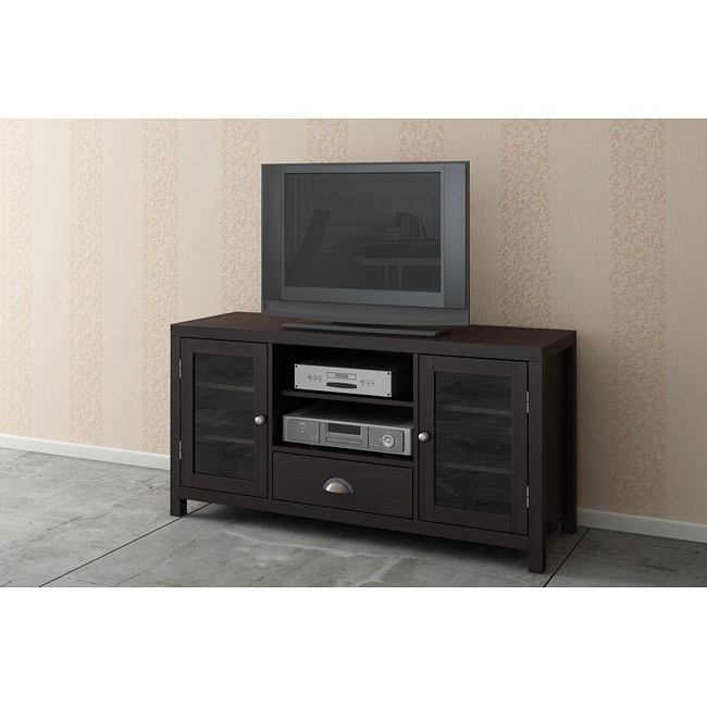 Espresso/ Glass Doors TV LCD Stand/ Media Console