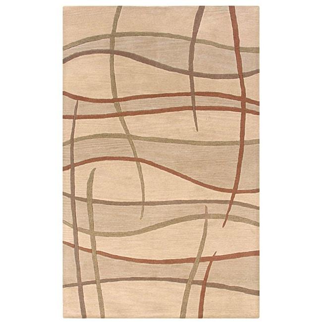 Hand-tufted Hesiod Beige Wool Rug (5' x 8')