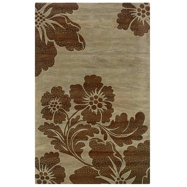 Hand-Tufted Hesiod Green Oriental Rug (9' x 12')