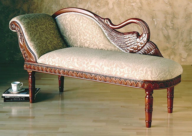 Carved swan chaise lounge free shipping today for Carved chaise lounge
