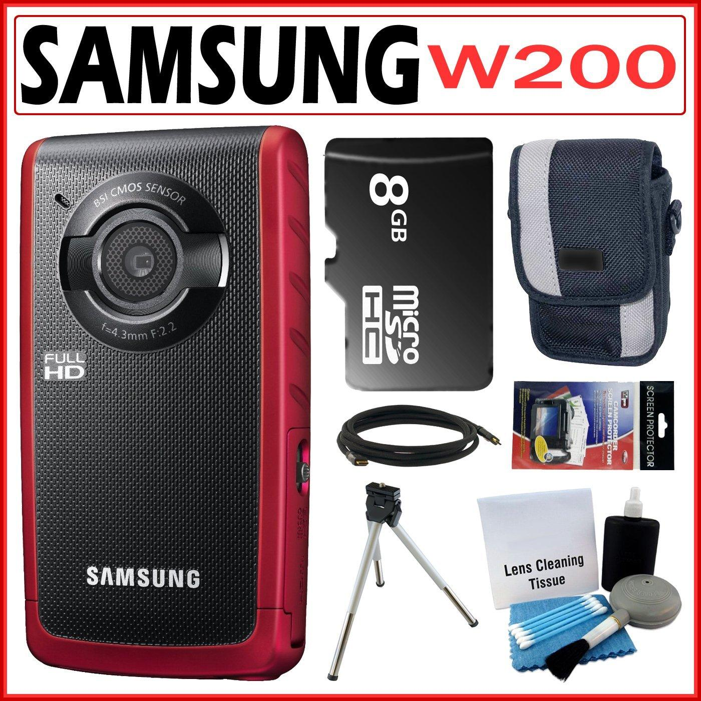 Samsung W200 Rugged Full HD 1080p Red Pocket Camcorder with 8GB Kit