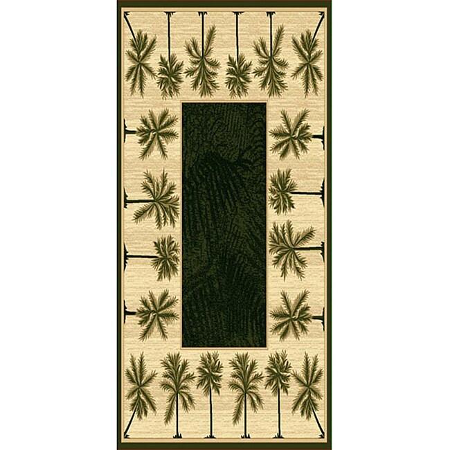 Oasis Palm Design-5 Tan Polypropylene/ Olefin Area