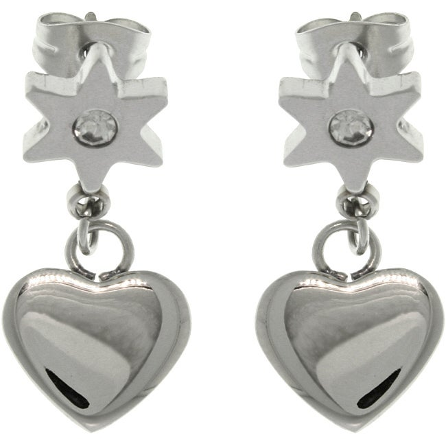 Carolina Glamour Collection Stainless Steel CZ Flower Heart Drop Earrings