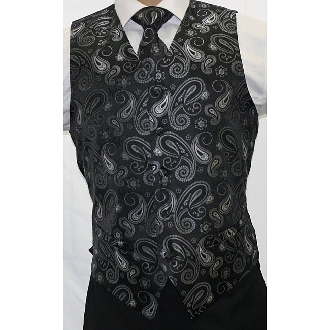 Ferrecci Men's Black/ Grey Paisley 4-piece Vest Set - Thumbnail 0