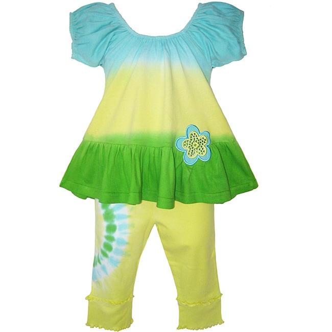 AnnLoren Girls 2-piece Tie-dye Knit Capri and Swing Top Outfit