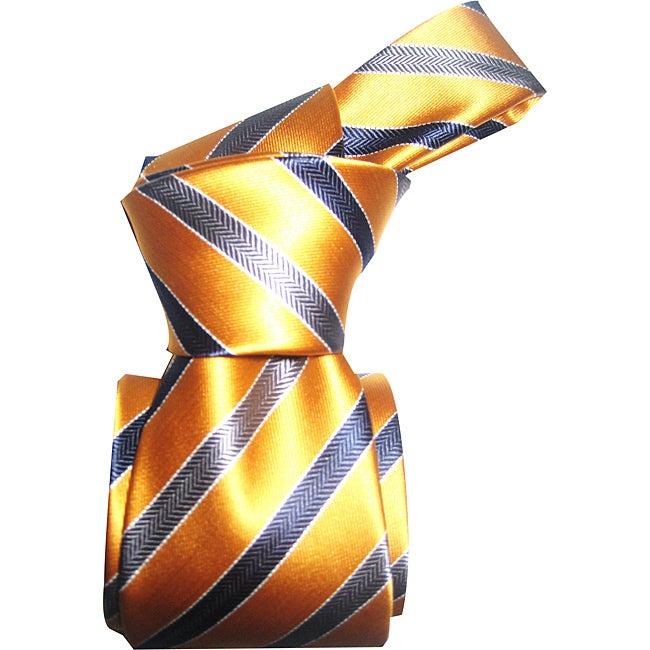 Dmitry Men's Light Orange Striped Italian Silk Tie