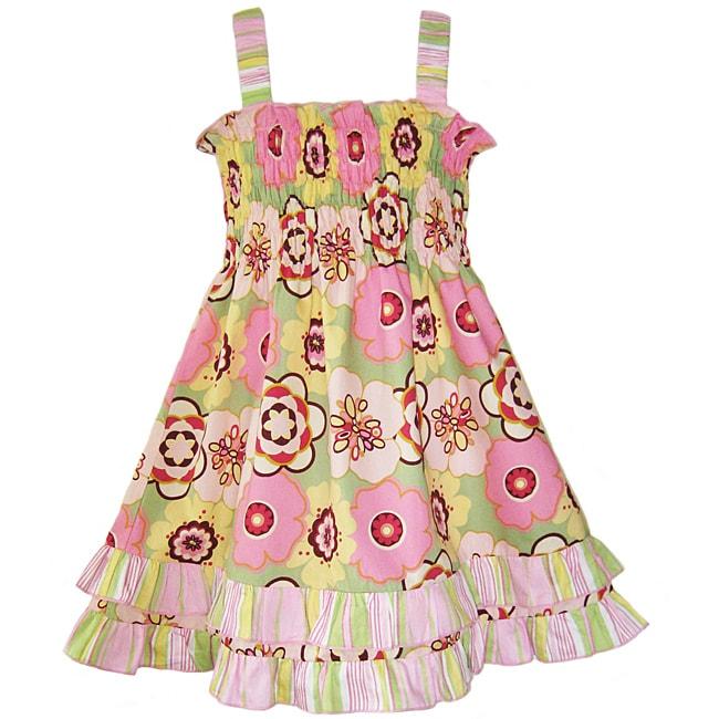 AnnLoren Girls Mod Floral Ruffled Smocked Sundress