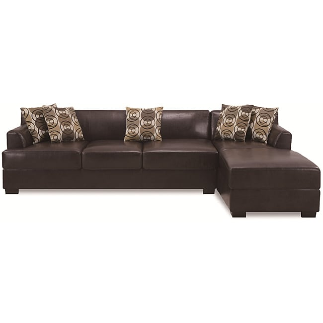 Dark Chocolate Leather Sectional Set