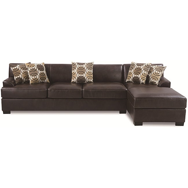 Espresso Leather Sectional Set