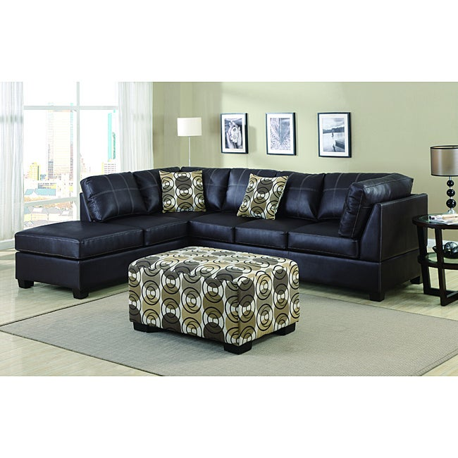 Nikki Dark Coffee Leather 4-peice Sectional Set