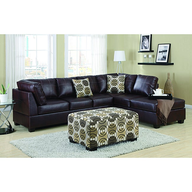 Nikki Mahogany Leather 4-piece Sectional Set - Thumbnail 0