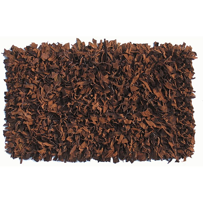 Dark Brown Premium Leather Shag Area Rug (5 'x 8')