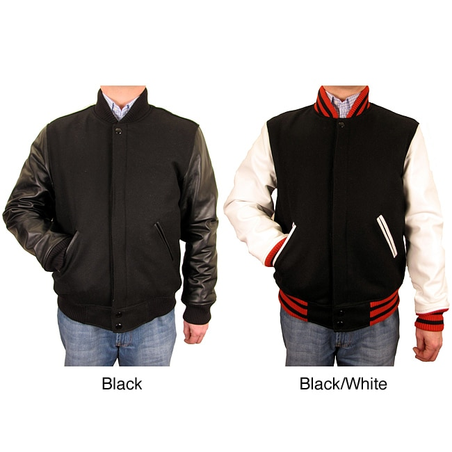 Hudson Outerwear Men's Big and Tall Wool/ Leather Varsity Jacket