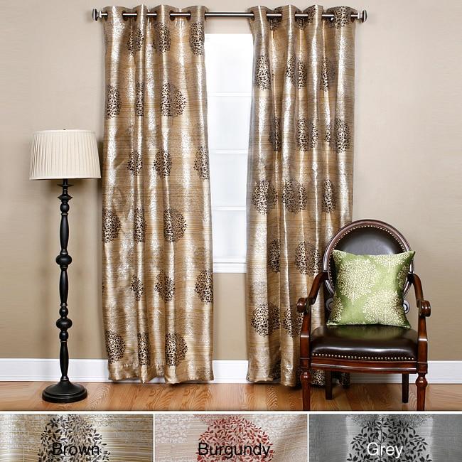 Metallic Jacquard Grommet Top 84-inch Curtain Panels