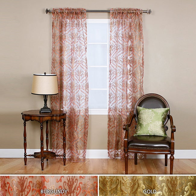Metallic 84-inch Embroidered Sheer Curtain Panel Set ...